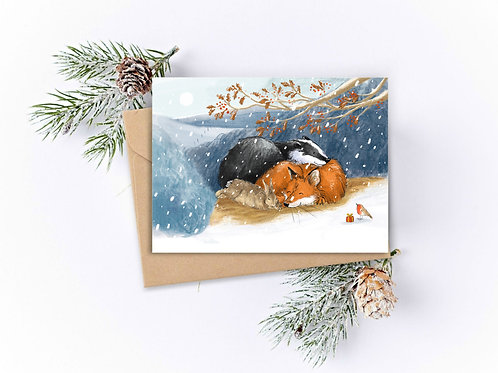 PACK OF 5 Country Animals Christmas Cards