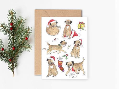 PACK OF 5 Border Terrier Christmas Cards