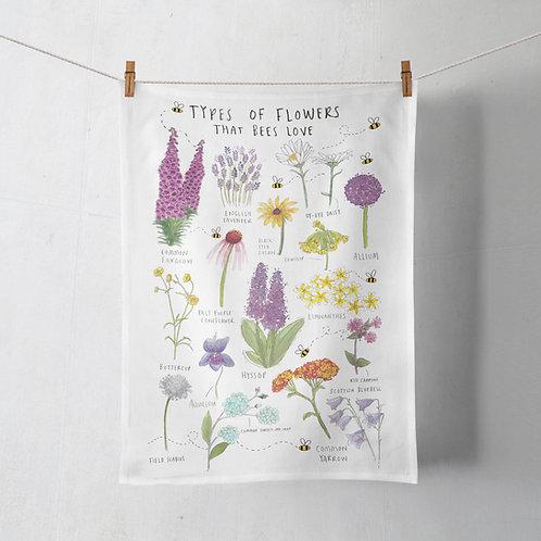 Tea Towel - Types of Flower