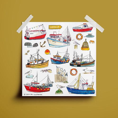 Print - Fishing Boats