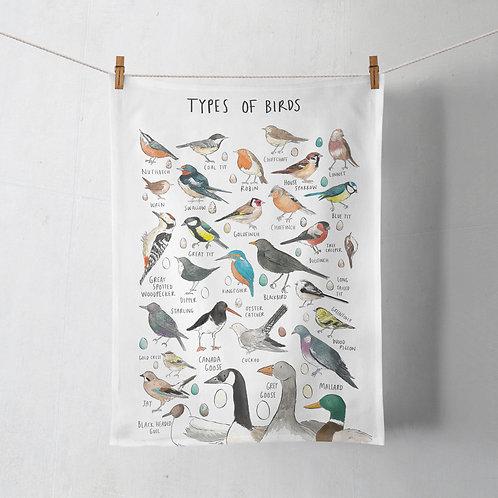 Tea Towel - Types of Birds