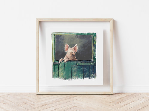 Print - Pig In Barn