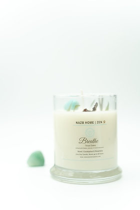 Breathe Love Candle with Amazonite Crystal