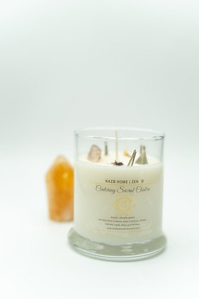 Centering Sacral Healing Candle with Citrine Crystal