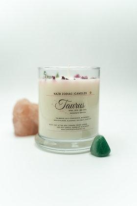 Taurus ♉️ Zodiac Candle with Rhodonite