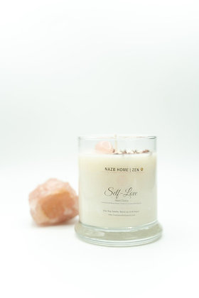 Self-Love Candle with Rose Quartz Crystal