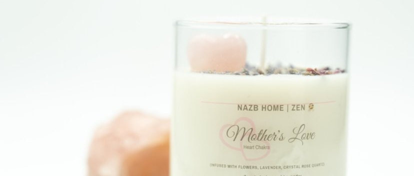Mother's Love Candle with Rose Quartz Crystal