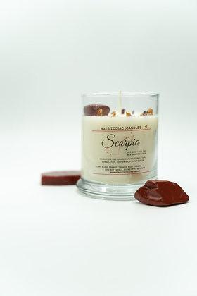 Scorpio ♏️ Zodiac Candle with Red Jasper
