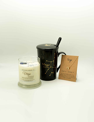 Vigro Zodiac Gift Set, Virgo Cup, Zodiac Candle, Virgo Gift, Virgo Necklace