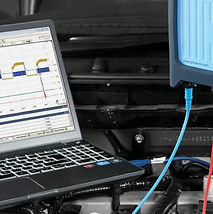 Automotive oscilloscope being used to analyse engine management systems.