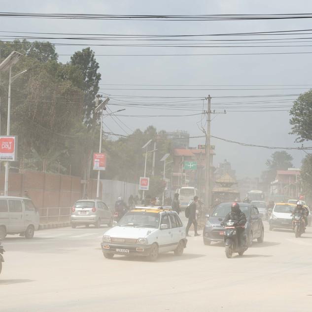 Dusty busy street. Kathmandu