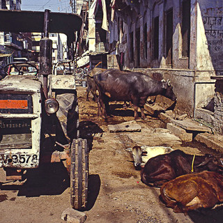 Varanasi, India I was first time in India 2001. Development has been fast and many of those places I visited looks completely different now. Tourism is significant factor for the development. It has good and bad impact. Many places and streets as well as city centers are rebuilt and cleaned. Against this fact these photos I took 2001 on a color slide film, have new meaning of document of  past time.