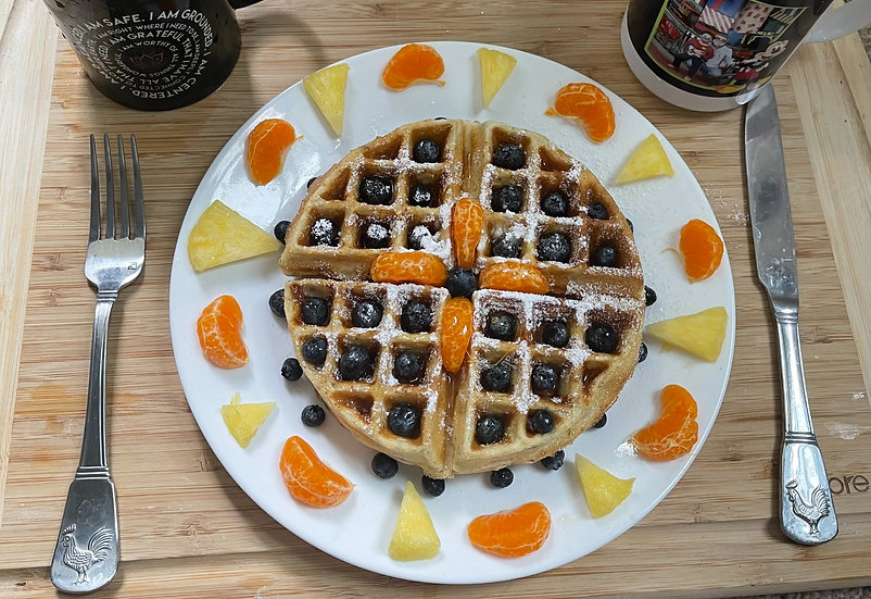 Almond Meal Waffle with Fresh Mixed Fresh Fruits
