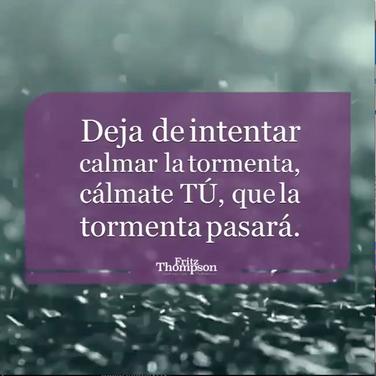 """Deja de intentar calmar la tormenta, cálmate tú, que la tormenta pasará."""""""