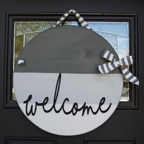 """""""Welcome"""" door hanger in grays"""