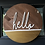"Thumbnail: ""Hello"" door hanger in Wood and gold"