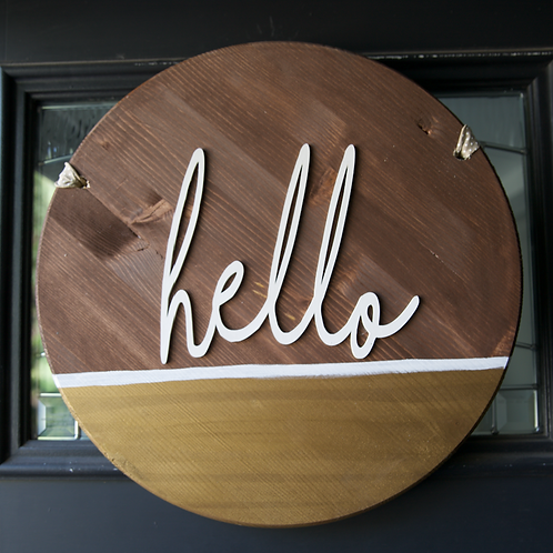 """Hello"" door hanger in Wood and gold"