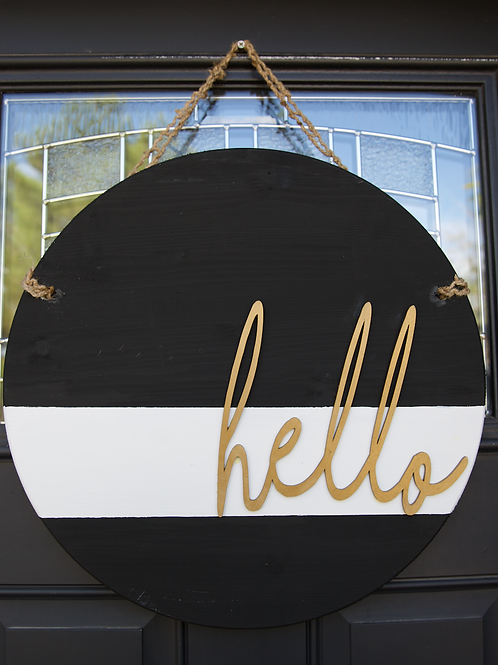 """Hello"" door hanger in Black white and gold"