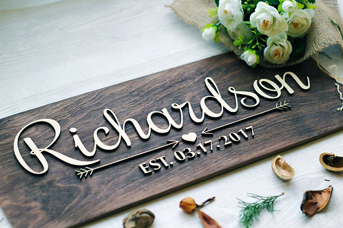 Small Name and Est Wood Cut out Custom Sign
