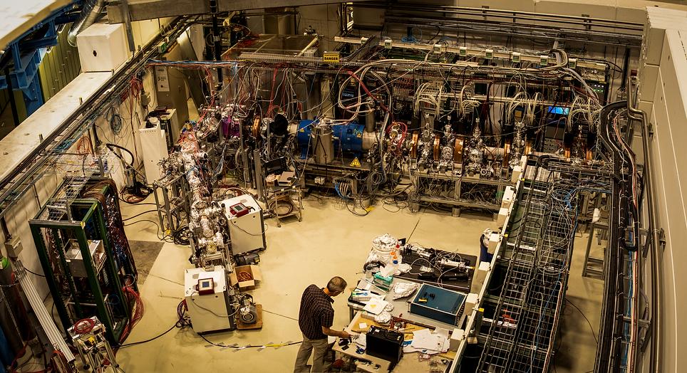 Scientist working in antimatter factory.