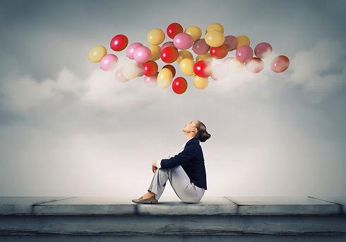 Conférence - Optimisme - Motivation - Ballon - Ciel - Femme