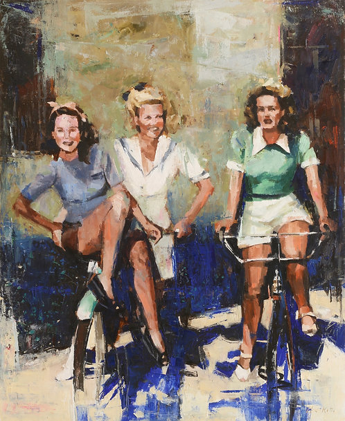 Girls on bike