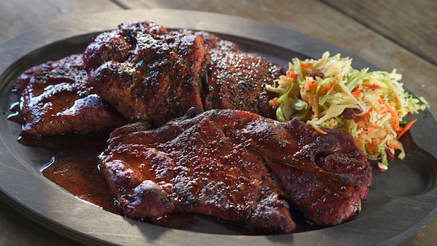 Steven Raichlen's - Monroe County Pork Steaks with Spicy Vinegar Dip