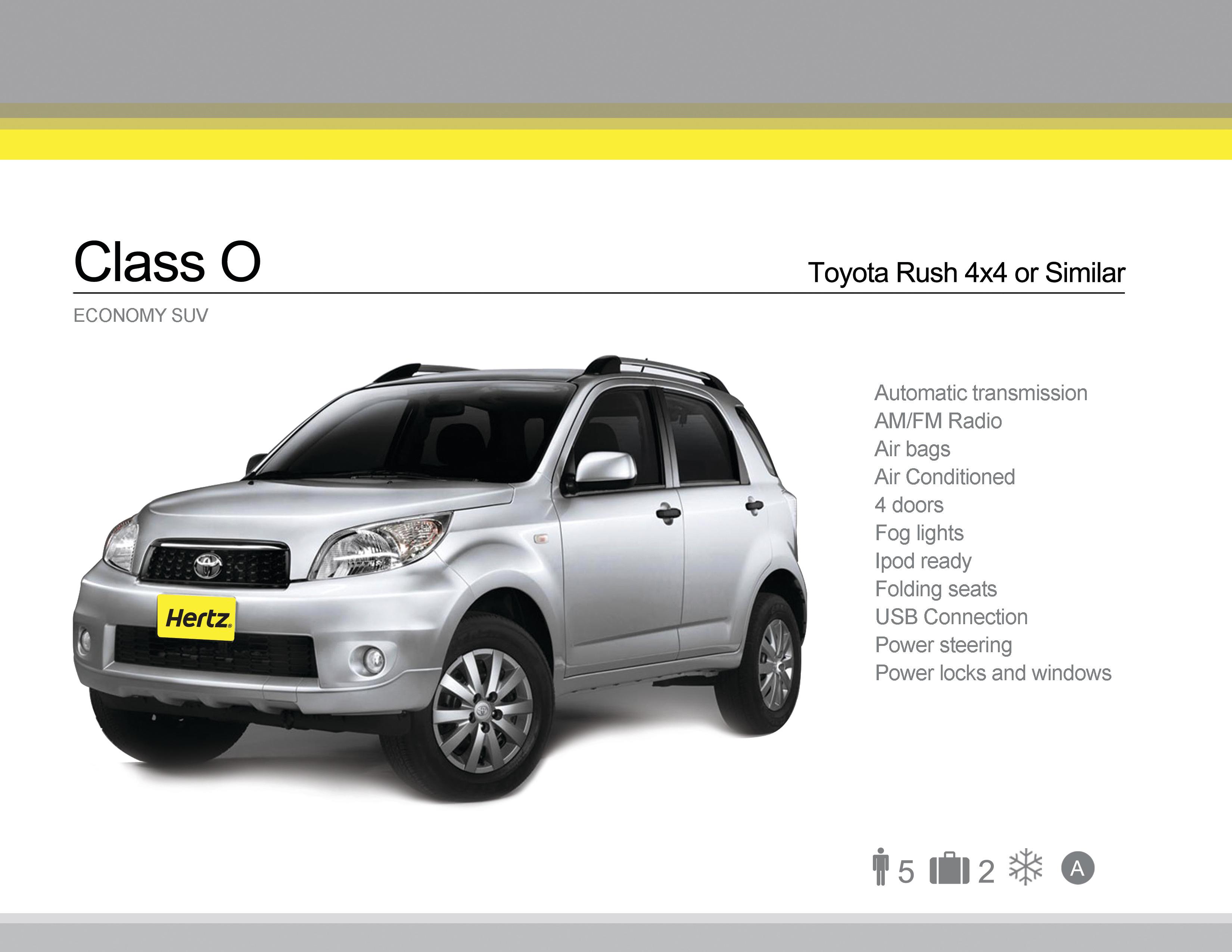 Class O - Toyota Rush or Similar