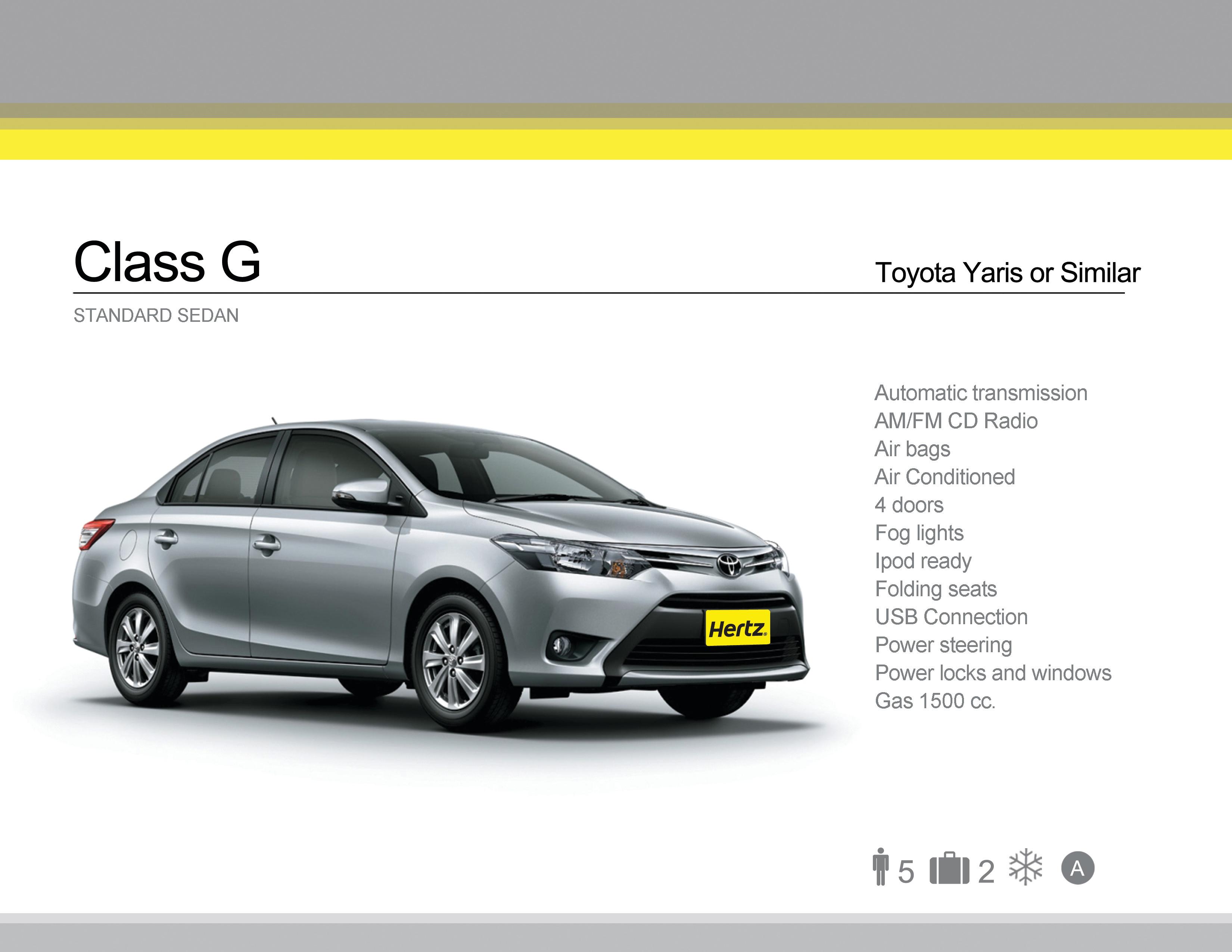 Class E-G - Toyota Yaris or Similar