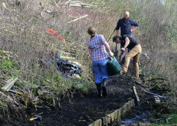 Working Party Clearing the Railway Cutting