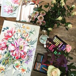 On my desk today #flowers #studio #mydesk #floral #mixedmedia #chalkpastels