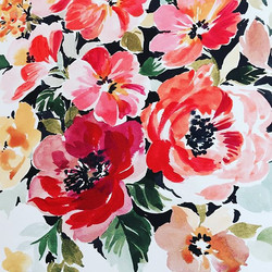 Quick gestural roses #acrylicink #flowerpainting #flowers #textiledesign