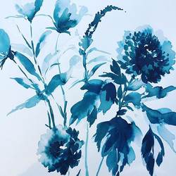 Tonal flowers #floralpainting #ink #flowers #flowergram  #tonal