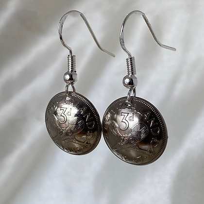 1946 and 1947 New Zealand Threepence Earrings