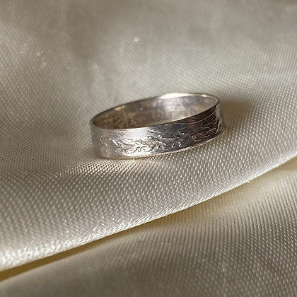 1901 UK Threepence Coin Ring