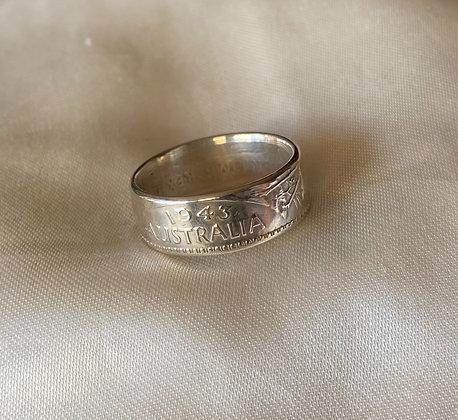 1943 Australian Florin Coin Ring