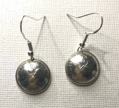 New Zealand Threepence Earrings
