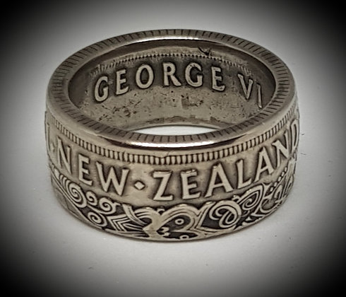 New Zealand Half Crown Coin Ring