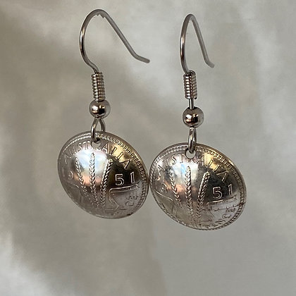 1951 Australian Threepence Earrings
