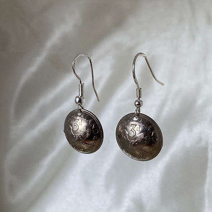 1959 and 1962 New Zealand Threepence Earrings