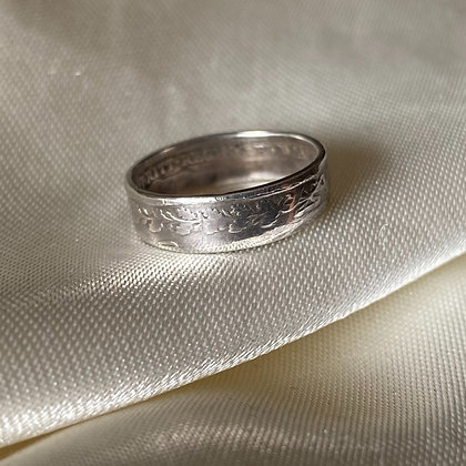 1900 UK Threepence Coin Ring