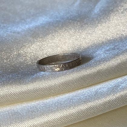 1954 Australia Threepence Coin Ring