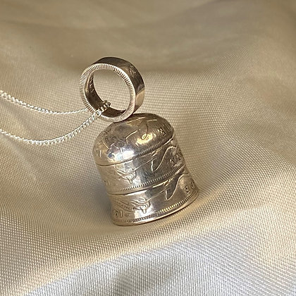 1951 Australian Sixpence Bell Pendant