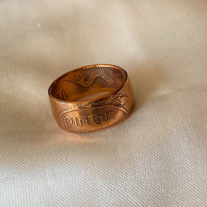 1968 Irish Penny Coin Ring