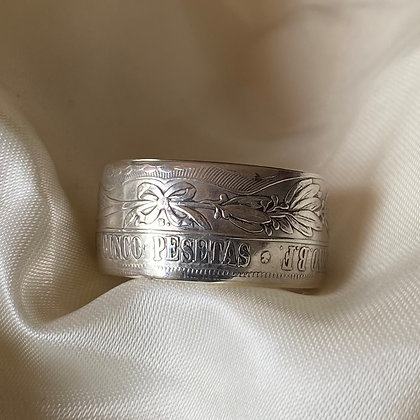 1880 Peru 5 Pesetas Coin Ring