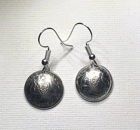 Australian Threepence Earrings