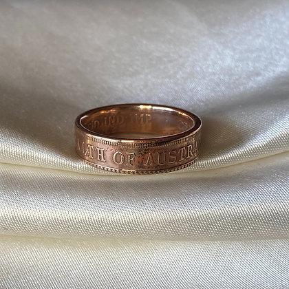 1923 Australian Penny Coin Ring
