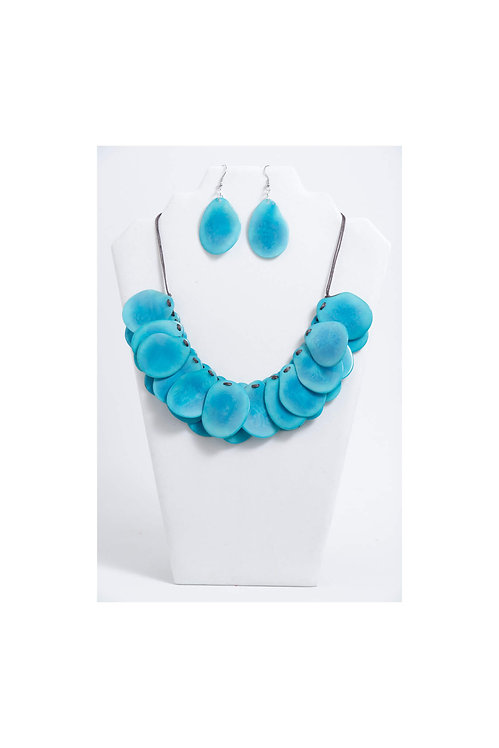 Chloe Tagua Necklace Set | Blue