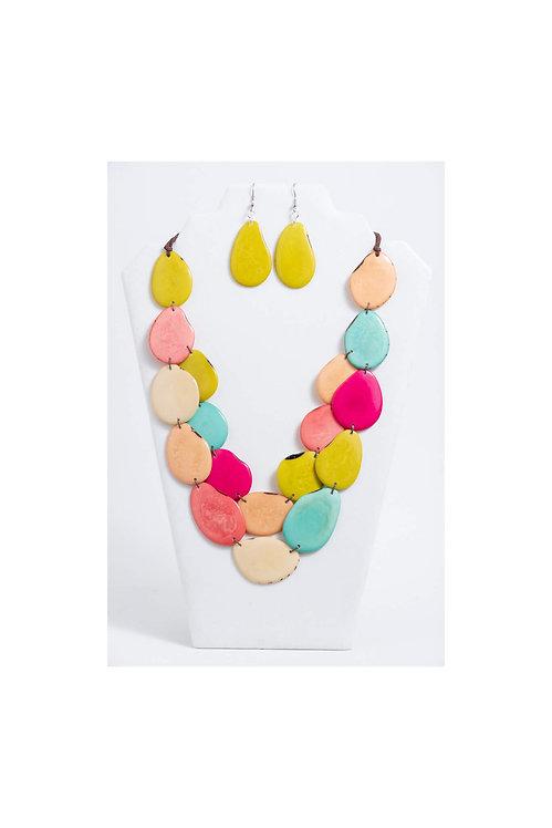 multicolored tagua necklace set