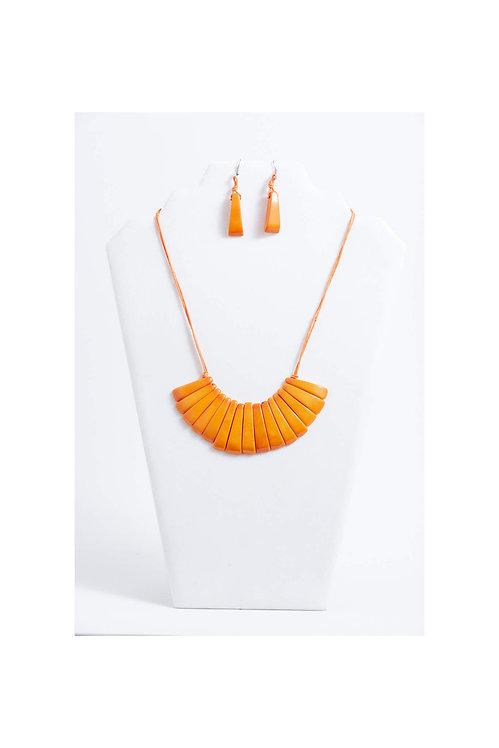 Fabi II Tagua Necklace Set | Orange